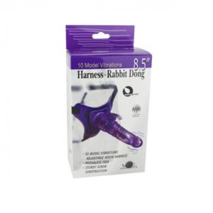 Aphrodisia 10 Mode Vibrations 8.5 Inch Harness Strap On Purple - 92004