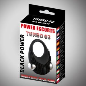 Power Escorts Black Power Turbo Cockring - Vibrerend