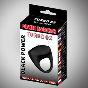 Power Escorts - Black Power - Turbo02 - Vibrating Cockring- Zwart - BR50