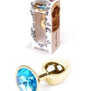 64-00022 gold plug light blue stone