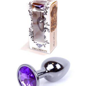 64-00034 dark silver plug purple stone