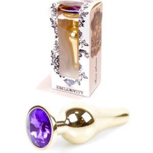64-00070 gold buttplug wiht purple stone
