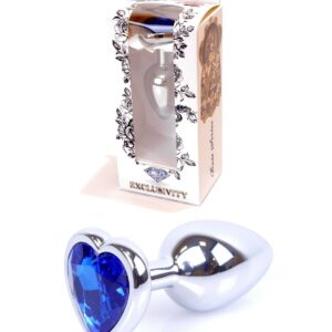 64-00050 silver heart plug with blue stone