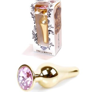 64-00063 gold buttplug with pink stone