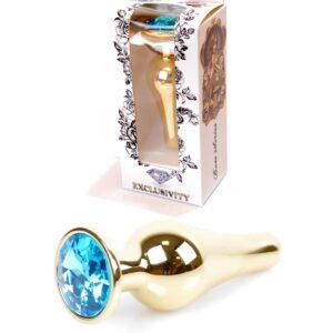 64-00067 gold plug light blue stone