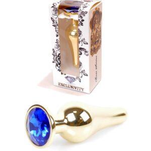 64-00068 gold buttplug dark blue stone