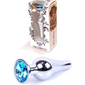 64-00076 silver butt plug light blue stone