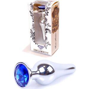 64-00077 silver butt plug dark blue stone