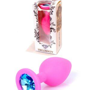64-00085 pink silicone plug medium size blue stone