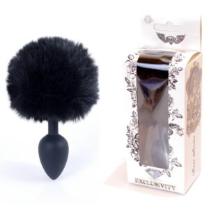 64-00100 black silicone plug black bunny tail